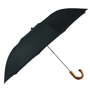 Gents Deluxe Auto Umbrella Wood Handle Crook Black