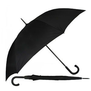 Walking Superior Auto Umbrella Rubberised Crook Handle Black