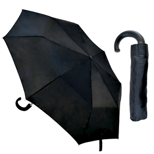 Budget Gents Crook Handle Auto Umbrella, Black