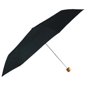 Deluxe Super Mini Umbrella With Wood Handle, Black