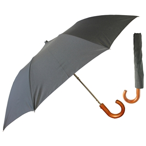 Deluxe Gents Crook Wood Handle Auto Umbrella, Black