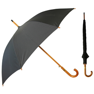 Deluxe Walking Auto Umbrella With Wood Shaft & Handle,Black