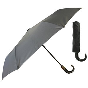 Superior Gents PU Crook Handle Fully Auto Umbrella, Black