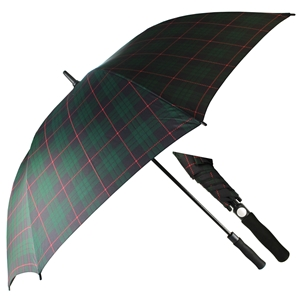Superior Golf Auto Umbrella, Green & Blue Tartan
