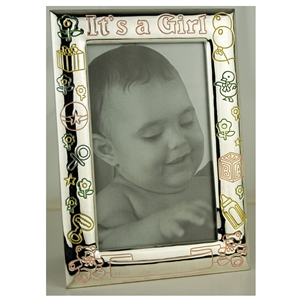 8879CI Its A Girl Frame 4x6 Coloured Silverplate