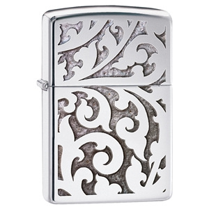 Zippo Lighter High Polish Chrome, Filigree