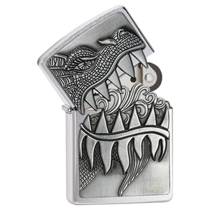 Zippo Lighter, Brushed Chrome Surprise Fire Breathing Dragon