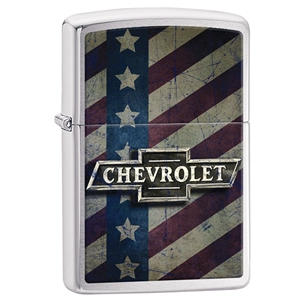 Zippo Lighter Brushed Chrome Chevy Bow Tie & Stars