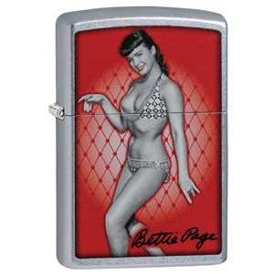 Zippo Lighter Street Chrome Bettie Page, Red Background