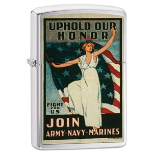Zippo Lighter Brushed Chrome U.S, Army, Navy & Marines, Poster-Uphold Our Honor