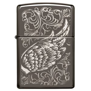 Zippo Lighter Black Ice, A Gift Of Wings