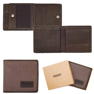 Zippo Canvas & Leather Wallet Mocca And Grey, 2005120