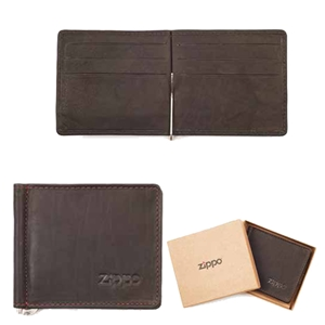 Zippo Leather, Bi-Fold Money Clip Wallet, Mocca, 2005125
