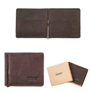 Zippo Leather, Bi-Fold Money Clip Wallet, Brown, 2005126
