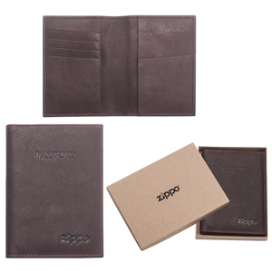Zippo Leather Passport Holder, Brown (10 X 14  X 1cm)
