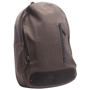 Zippo Canvas & Leather Trim Backpack, Grey & Mocha (49x34x13cm)