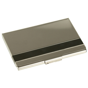 Business Card Case Banded Shiny Stainless Steel